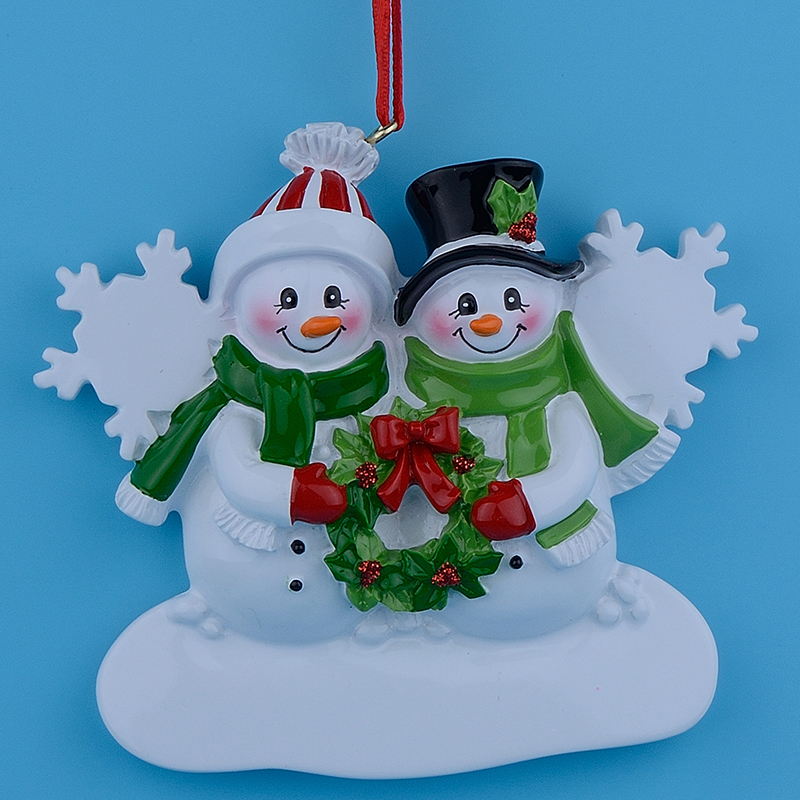 Wholesale Snowman Family of 2 Resin Christmas Ornaments ...