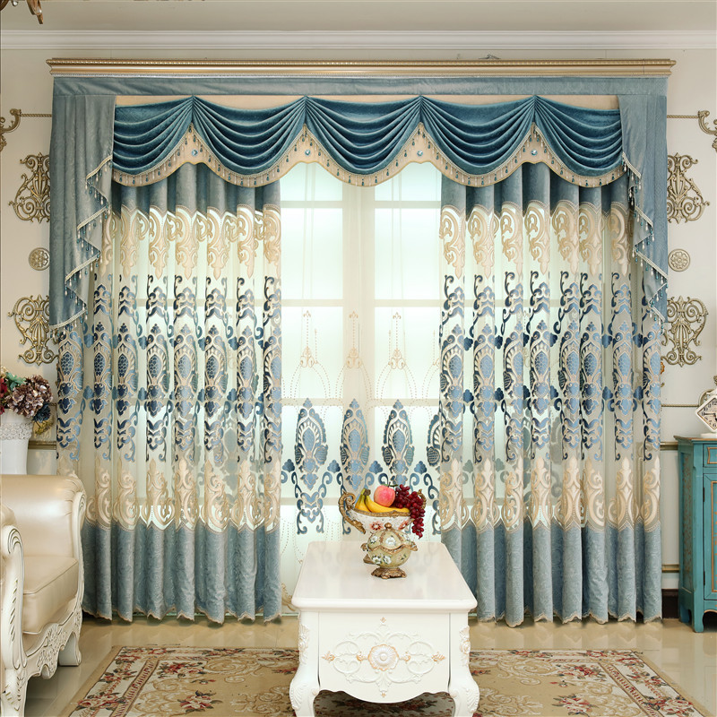 European Style Royal Gold Blue Luxury Curtains For Living