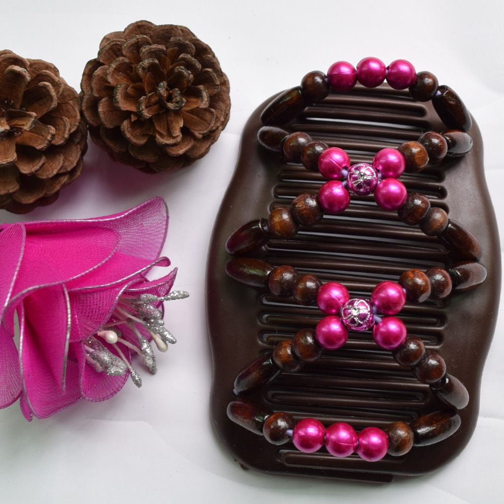 brown Dark pink beads Magic new high quality Comb20 pcs/lot professional work lady hair accessory