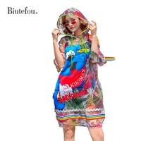 2019 [Biutefou] summer fashion sequined patchwork dresses women bear cartoon transparent sunscreen clothes hooded dresses