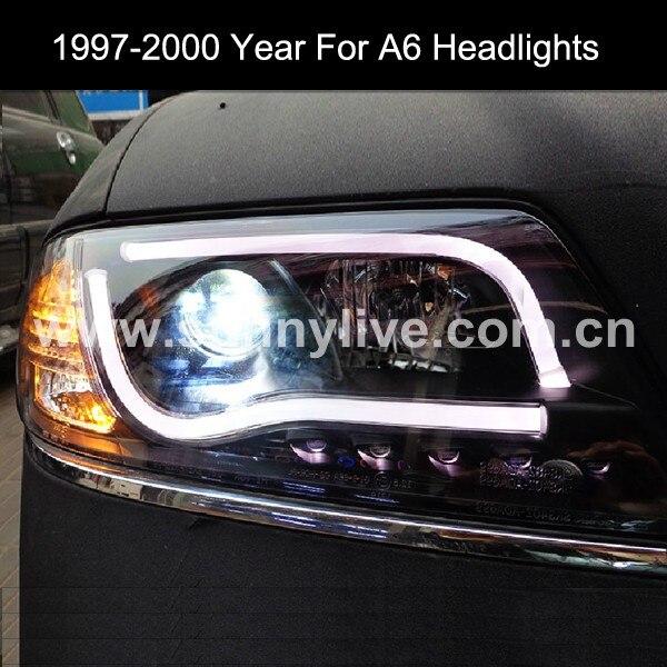 1997 2000 Year For AUDI A6 LED Strip Car Headlights Projector Lens