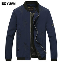 BOYUAN Bomber Jacket Men Casual Male Coat Rib Stand Collar Embroidery Leavies Fashion Male Jacket Autumn