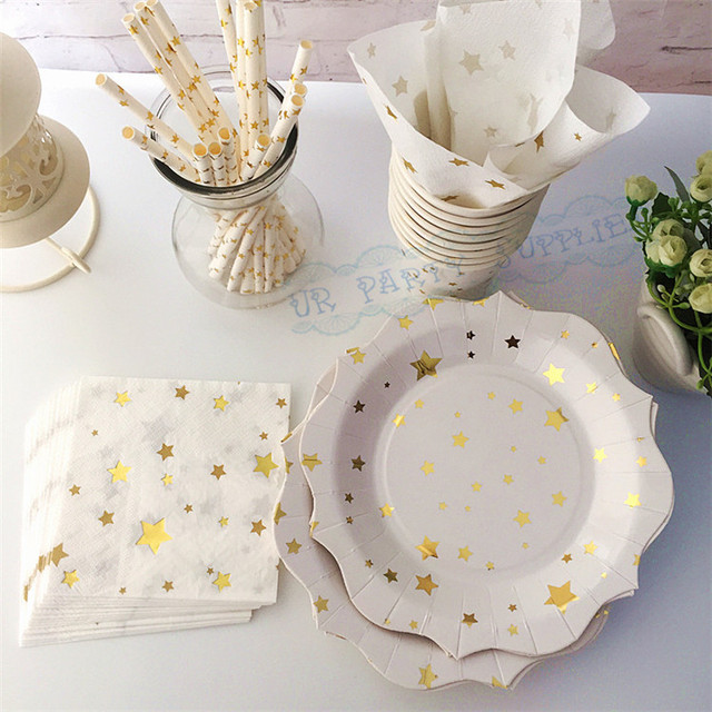 16 Sets Gold Star Paper Tableware First Birthday Dinner Dessert Plates Baby Shower Paper Cups Shinning : first birthday tableware - pezcame.com