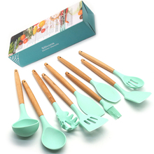 Silicone Cooking Utensils Kitchen Utensil set - 9&11 Natural Wooden  Tools Gadgets