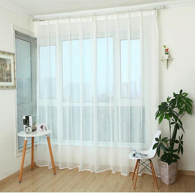 Custom Curtains Simple Modern Cross Cotton Pure Linen Bedroom Livingroom Windows Ventilation White Yellow Tulle Yarn