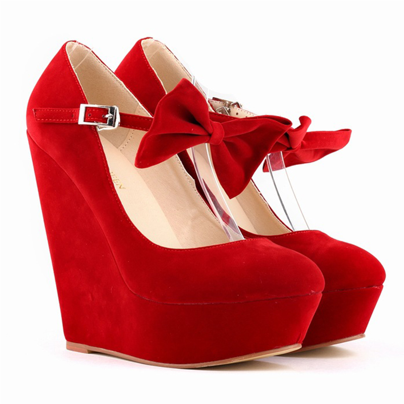 Women High Heels Shoes Summer Fashion Solid Buckle Wedges 2018 Buckle Bowtie Pumps For Woman Ladies Platform Footwear YBT741 xiaying smile summer woman sandals shoes platform women pumps buckle strap wedges heels fashion casual flock rubber women shoes