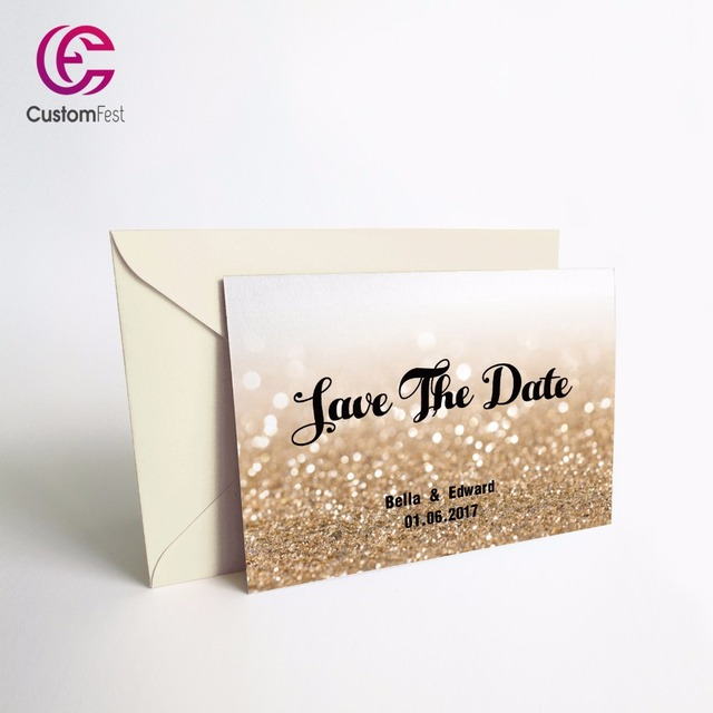 50pcslot personalized thank you card or save the date card with free envelop glitter - Personalized Thank You Cards