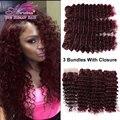 99J Malaysian Deep Wave With Closure 4x4 Burgundy Human Hair Lace Closure With Bundles Mink Deep Wave 3 Bundles With Closure