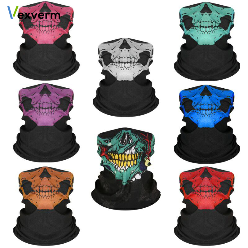 Halloween Scarf Mask Festival Motorcycle Face Shield SKULL Ghost Face Windproof Mask Sun Mask Balaclava Party Bicyle Bike Masks bicycle ski motor bandana motorcycle face mask skull for motorcycle riding scarf women men scarves scary windproof face shield