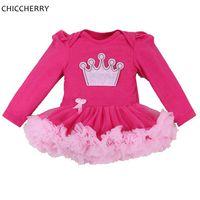 Hot Roze Kroon Zoete Meisje Kant Tutu Lange Mouwen jurk in Een Stuk Peuter Prinses Verjaardag Baby Outfits uit China