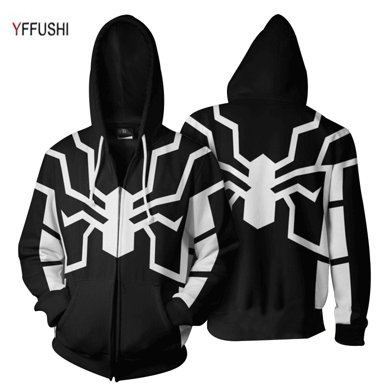 YFFUSHI 2018 New Arrival Male 3D Zipper Jacket Fashion Naruto 3d Print Coat Hot Sale Spider Print Zipper Hoodie Men Plus Size