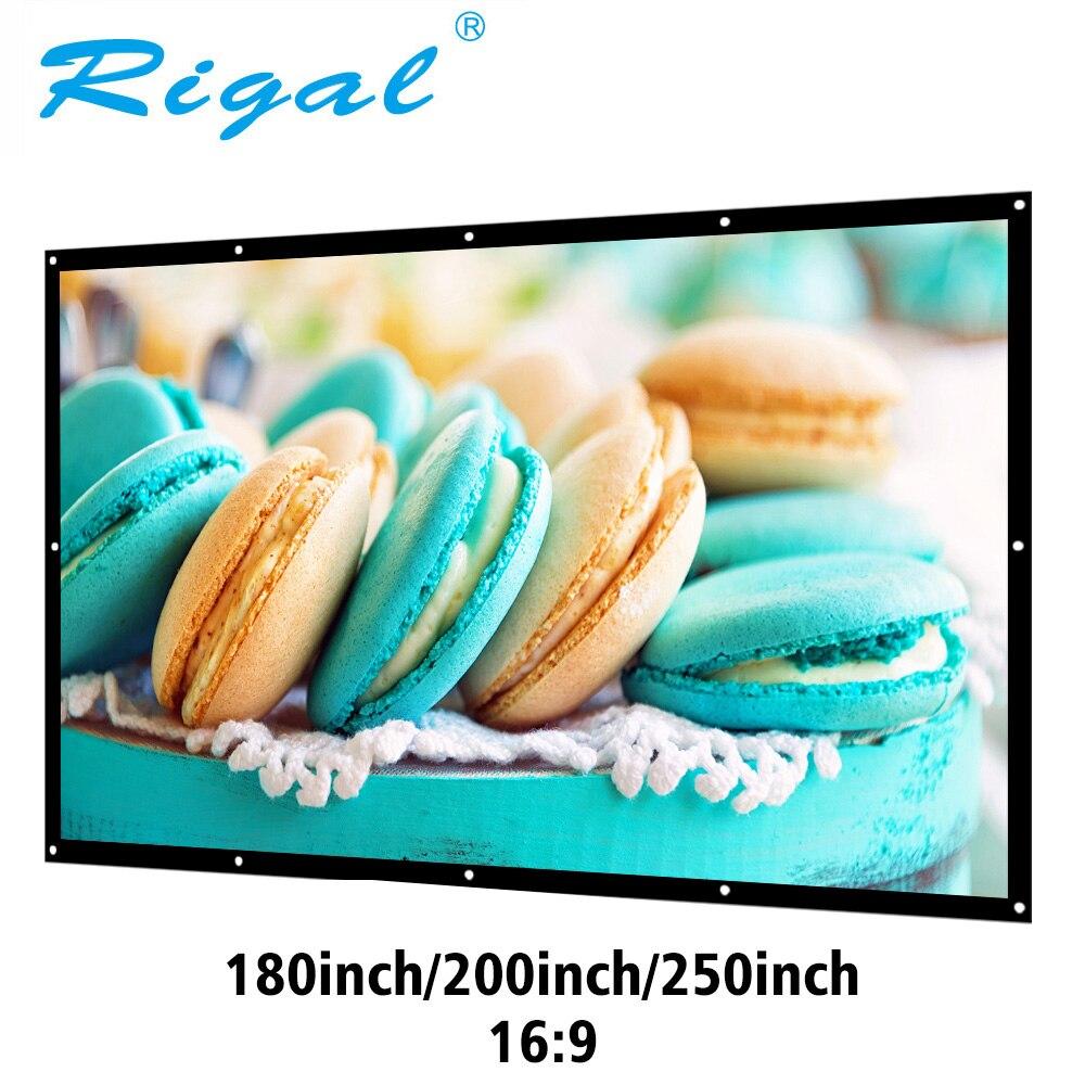 Pantalla de proyección Rigal 180  200  250  300 pulgadas proyector Pantalla 16:9 pantalla plegable portátil lienzo blanco mate para el hogar película HD montado en la pared