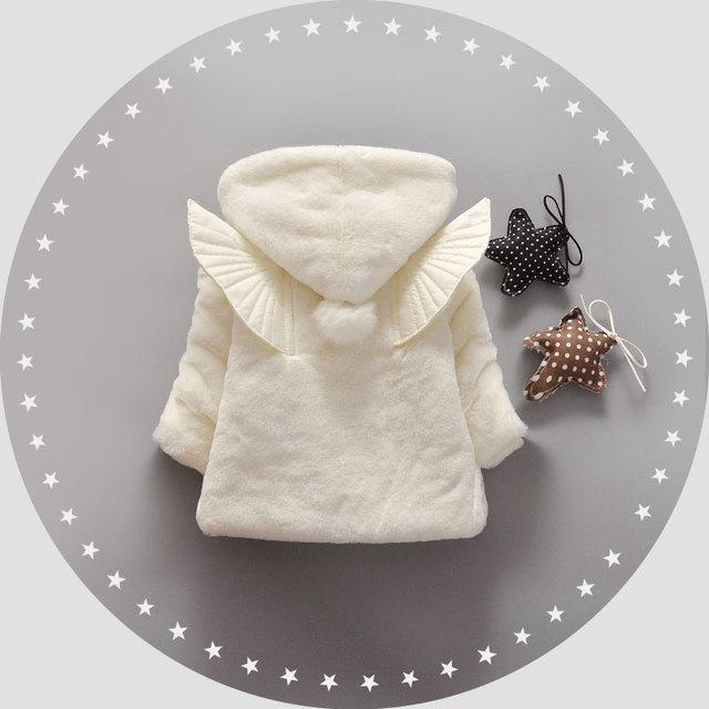 Outono Inverno Do Bebê Meninas Crianças Crianças Bola Bonito Asas de Anjo Com Capuz Princesa Roupas Casaco Jaqueta Casacos Outwears 7-24Months