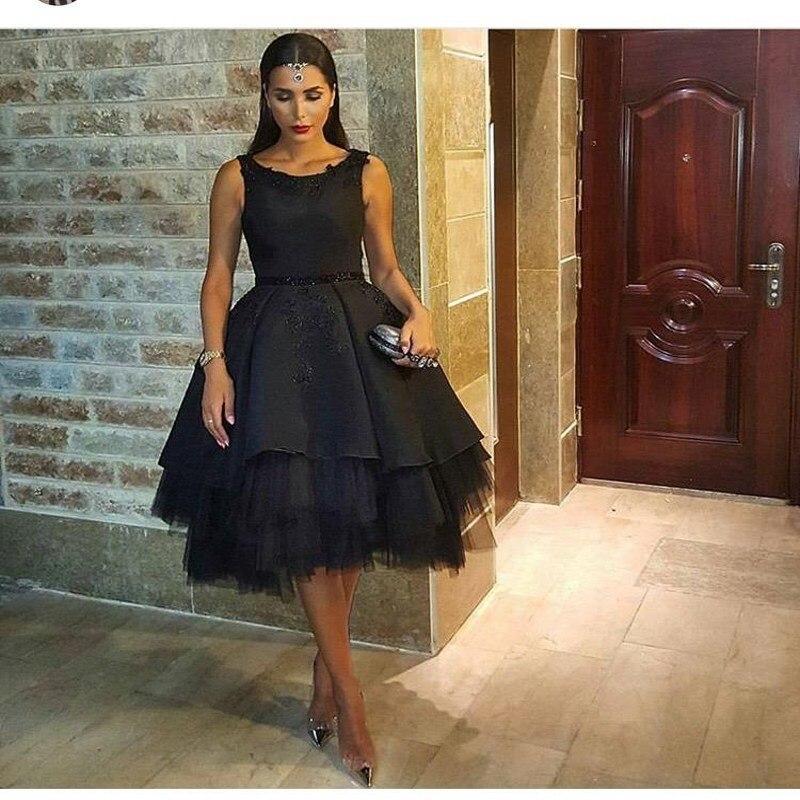 Fashion Black Prom   Dresses   2016 A-line Sleeveless party   dress   Tulle Skirt Arabic Dubai   Evening     dress   robe de soiree