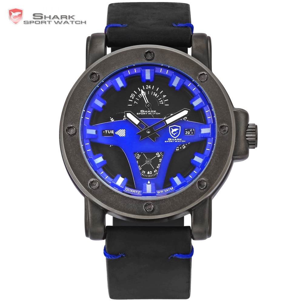 Greenland Shark 2 Series Sport Men Watches Blue Date Crazy Horse Leather Quartz Horloge Male Saat Erkekler Wrist Watches / SH456 greenland shark sport watch men luxury