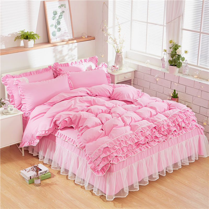 New Luxury Bedding Set Princess Bow Ruffle Duvet Cover Wedding Bedding Pink Girl Baby Bed Skirt