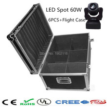 6pcs/lot with flight case for 60W Led spot Moving Head/led 60W Patterns Rotation Gobo light/60W Nightclub Xmas Party led Lights