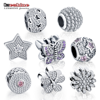 LZESHINE CZ Charm Beads Authentic 925 Sterling Silver Shinny Charm Beads Bracelet Pendants Fit Original Jewelry