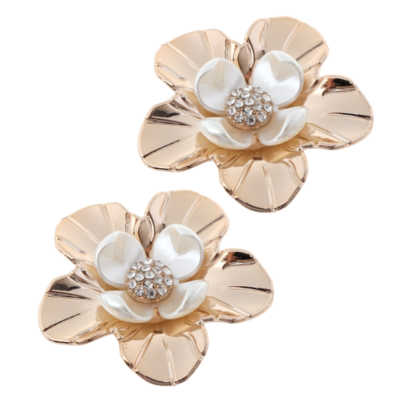 EYKOSI New 2pcs Floral Shoe Decoration Clothes DIY Shiny Flower Ornaments Charms Removable 2018 Hot Fashion