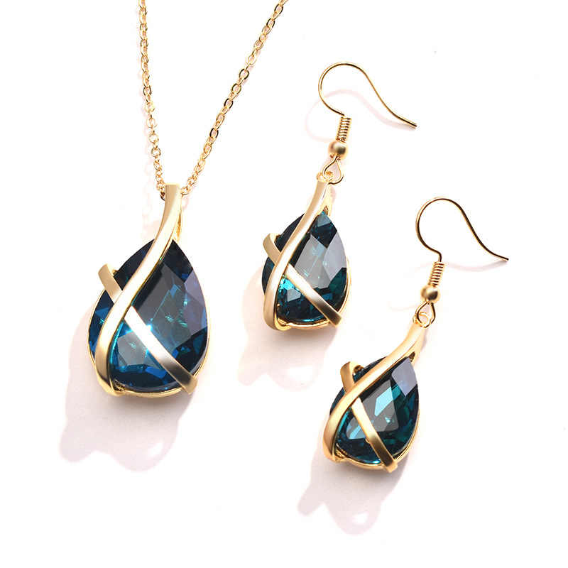 Double Fair Waterdrop Blue Crystal Cross Yellow Gold Color Necklace Earrings Jewelry Sets For Women Fashion Jewelry KB381