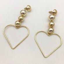Heart Statement Dangle Earrings For Women Fashion Brand Pendientes Shiny metal charm earring Punk style earrings