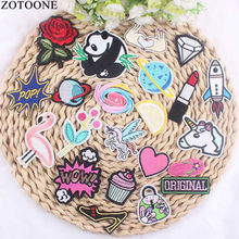 ZOTOONE Cute Panda Unicorn Flamingo Patch Beauty Planet Diamond Embroidered Appliqued Sticker Iron On Hats Vest Flower Patch(China)