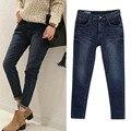 Зима/Осень рваные джинсы женщина отверстия джинсовые брюки вышитые досуг джинсы брюки для женщин свободные голубые женские джинсы брюки
