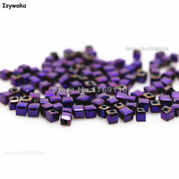 Isywaka 1980pcs Cube 2mm Shining Purple Color Square Austria Crystal Bead Glass Beads Loose Spacer Bead