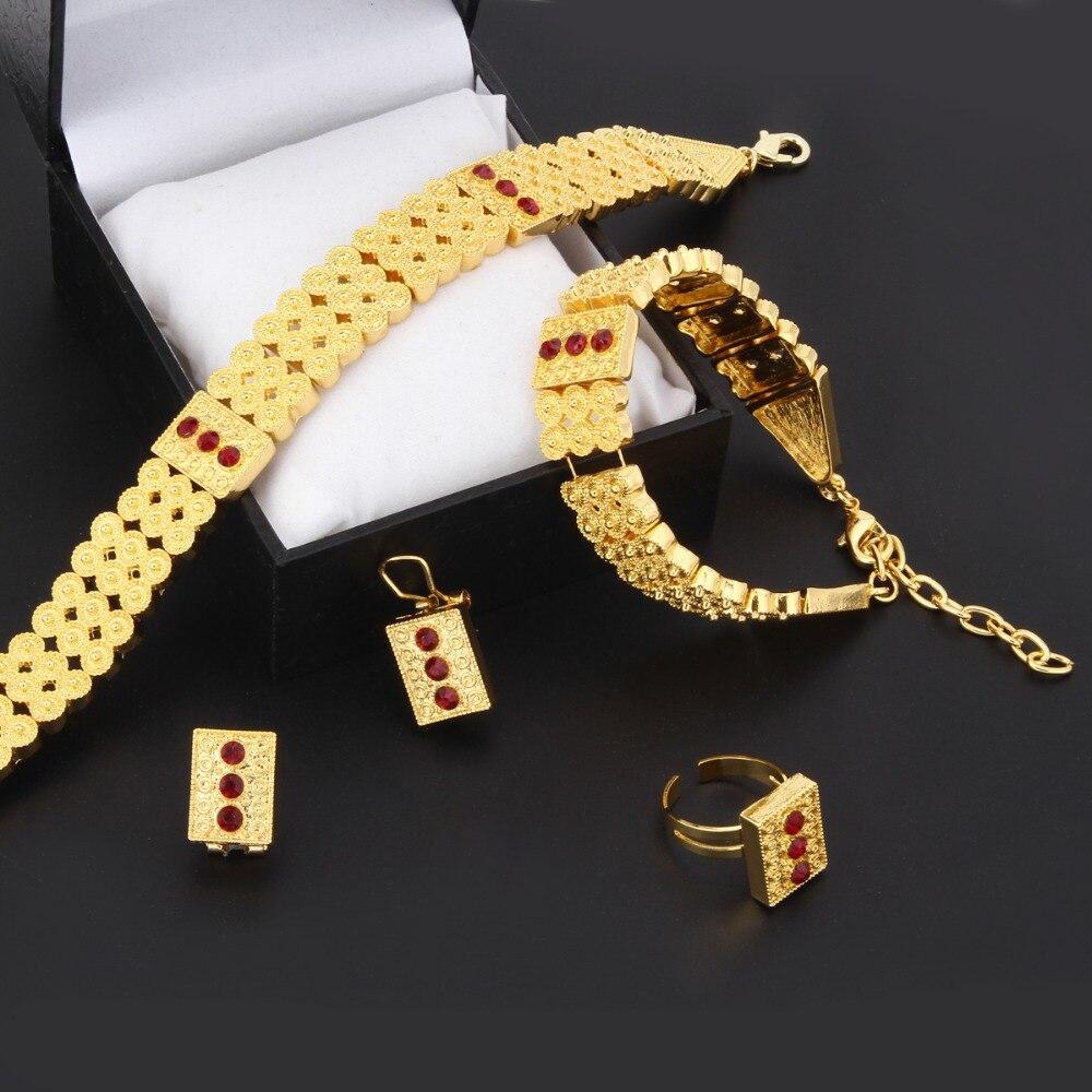 Gold Ethiopian set Jewelry Chokers Necklace Bracelet Earring Ring sets Africa Eritrea bridal wedding jewelry Habesha set