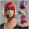 DM215 Wholesale> Hembra Caliente Colorido Rainbow BOB Con Flequillo Pelucas de Cosplay Del Partido Corto Peluca Llena