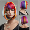 Wholesale DM215>Female Colorful Hot BOB With Bangs Rainbow Wigs Cosplay Party Short Full Wig