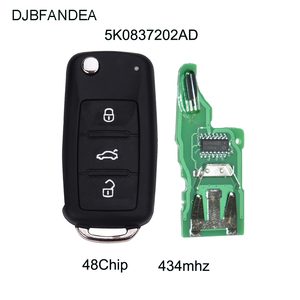 DJBFANDEA 5K0 837 202 AD Remote Key for VW/VOLKSWAGEN 5K0837202AD Beetle/Caddy/Eos/Golf/Jetta/Polo/Scirocco/Tiguan/Touran/UP