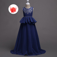 Princess Bride Wedding-dresses-navy-blue Red Deep Purple Girls New 6 To 16 Years Ball Gowns Kids Blue Party Dress Chiffon