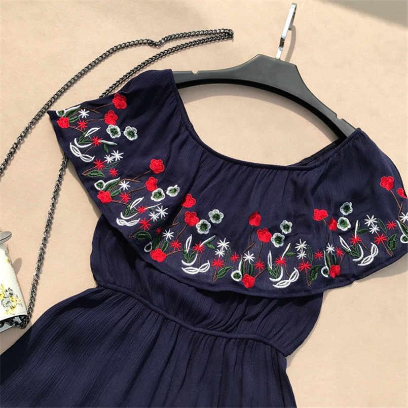 Boho 2019 с открытыми плечами вышивка цветочный комбинезон Повседневный сексуальный женский игровой костюм летний Этнический стиль пляжный костюм комбинезон в богемском стиле