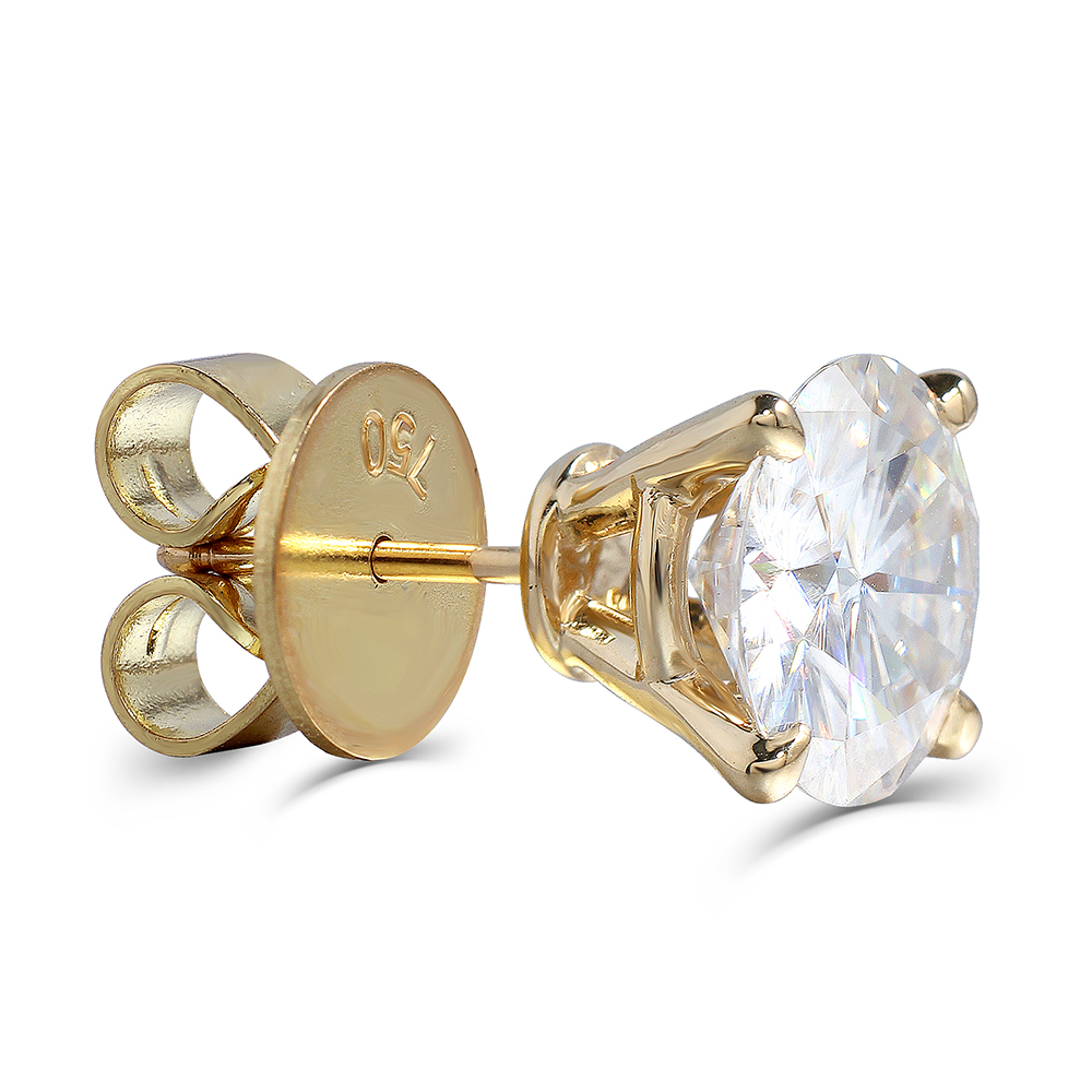 Image 3 - Transgems Luxury Big Size 18K 750 Yellow Gold 6CTW or 4CTW F Color Clear Moissanite Stud Earrings for Women Wedding Jewelry    -