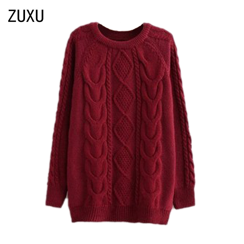 ZUXU Women Long Sleeve Pullover Crochet Knitwear Sweater