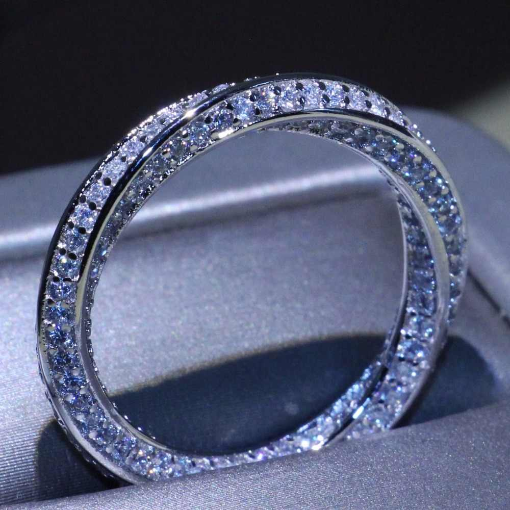 Stunning Simple Circle Ring Luxury Jewelry 925 Sterling Silver Pave Micro AAA Zirconia CZ Party Mobius Wedding Rings For Women