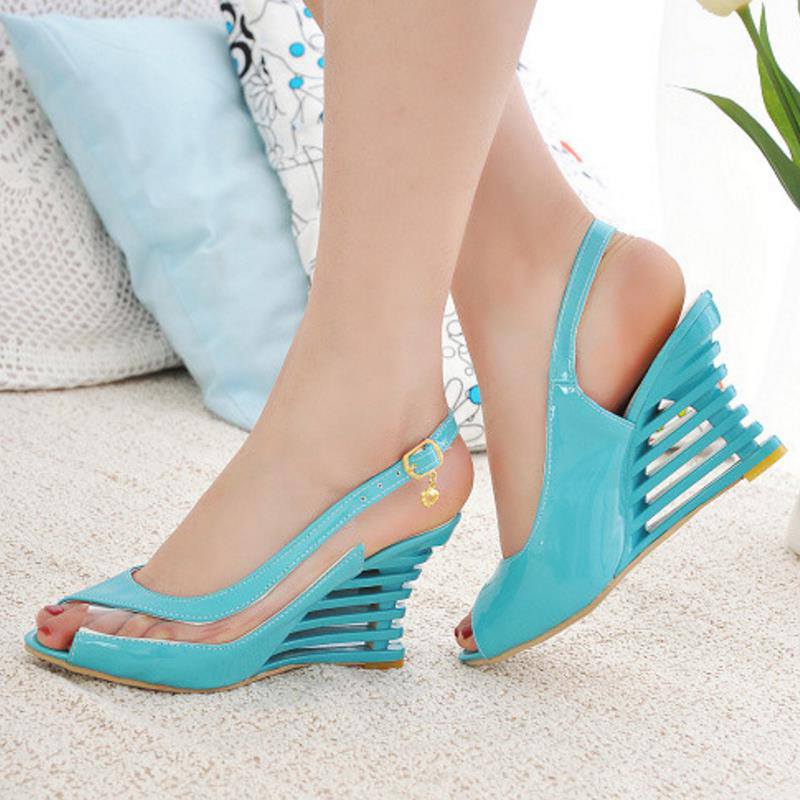 HTB1D35Ba6zuK1RjSspeq6ziHVXaO Taoffen 2019 New Women Heel Sandals Buckle Open Toe High Wedge Shoes Women's Summer Shoes Sexy Women Shoes Footwear Size 34-43