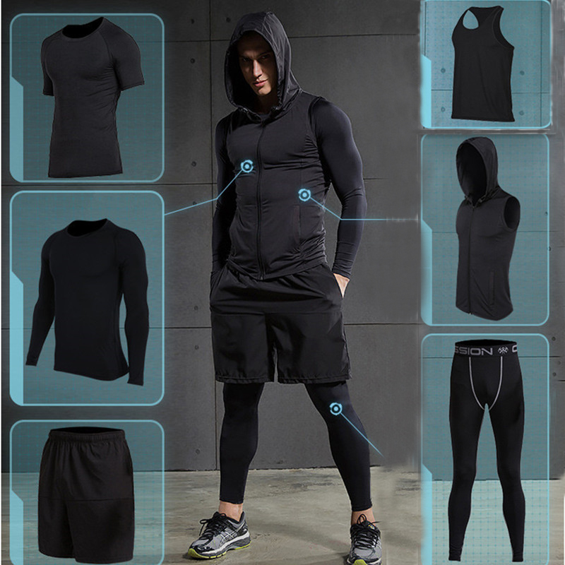 2017 Quick Dry Men's Running Sets 6pieces/sets Compression Sports Suits Basketball Tights Clothes Gym Fitness Jogging Sportswear 2017 compression 5pcs men fitness clothing sets quick dry sports running suit hood basketball soccer gym training jogging suits