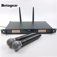 Betagear Professional stage microphone Mic RU24D & 4D UHF Dual Wireless Microphone System For Large Concert Stage Church Touring