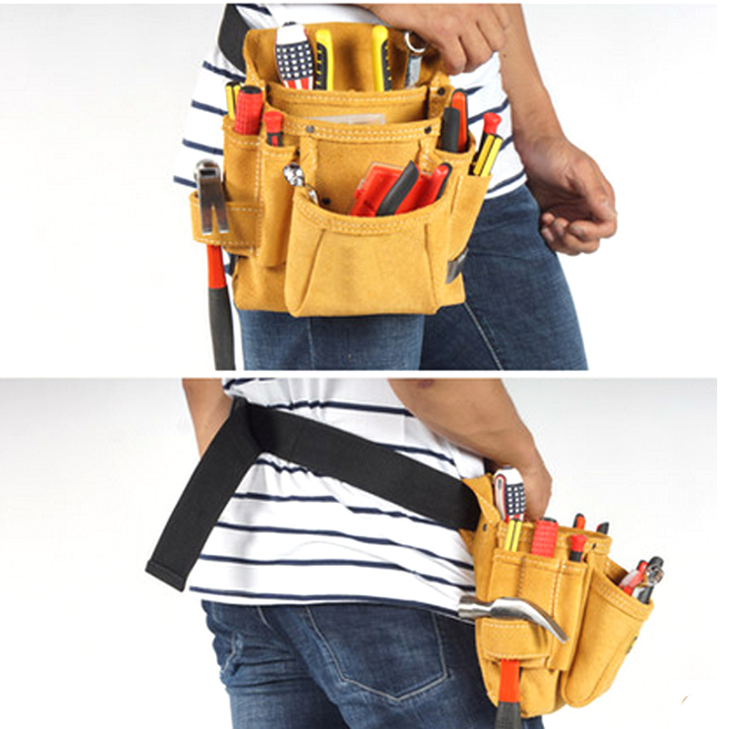 Cowhide Waist Tool Pouch Tool Belt Bag for Woodworking Electrician Carpenter Construction Hardware Screwdriver Tools