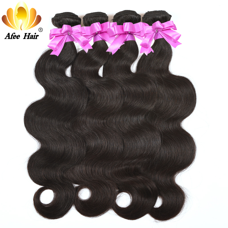 Aliafee Hair Brazilian Body Wave 4 Bundle Deals Remy Hair - Mänskligt hår (svart)