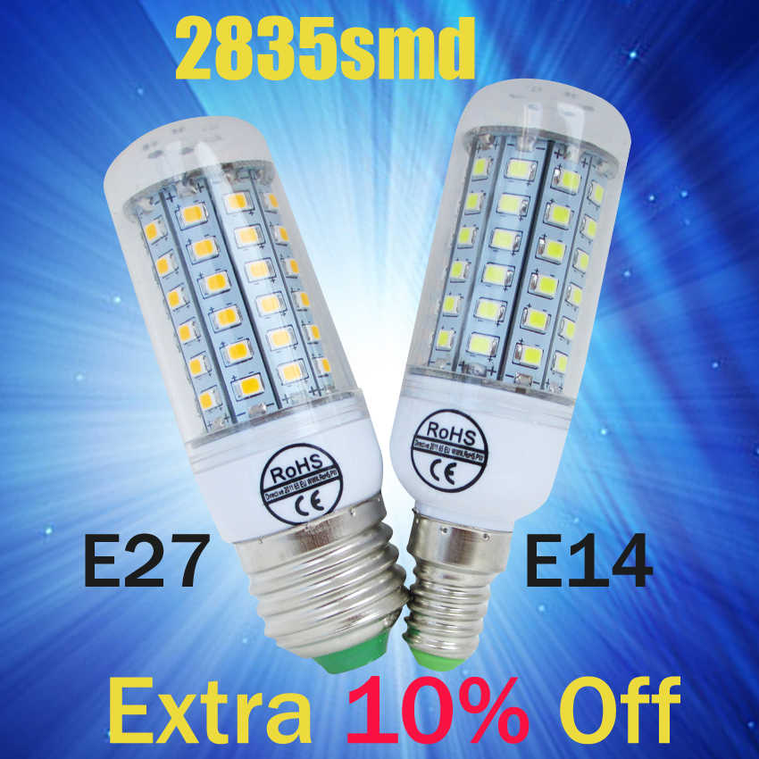 HOT Led Bulb E27 E14 30 36 48 56 69LEDS SMD 2835 Corn Bulb 220V Chandelier LEDs Candle light Spotlight Lamp Warm White
