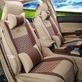 Nueva llegada de cuero de LA PU de seda cubierta de coche auto universal de la cubierta de asiento de coche accesorios interiores diseño de lujo bordado asiento protector