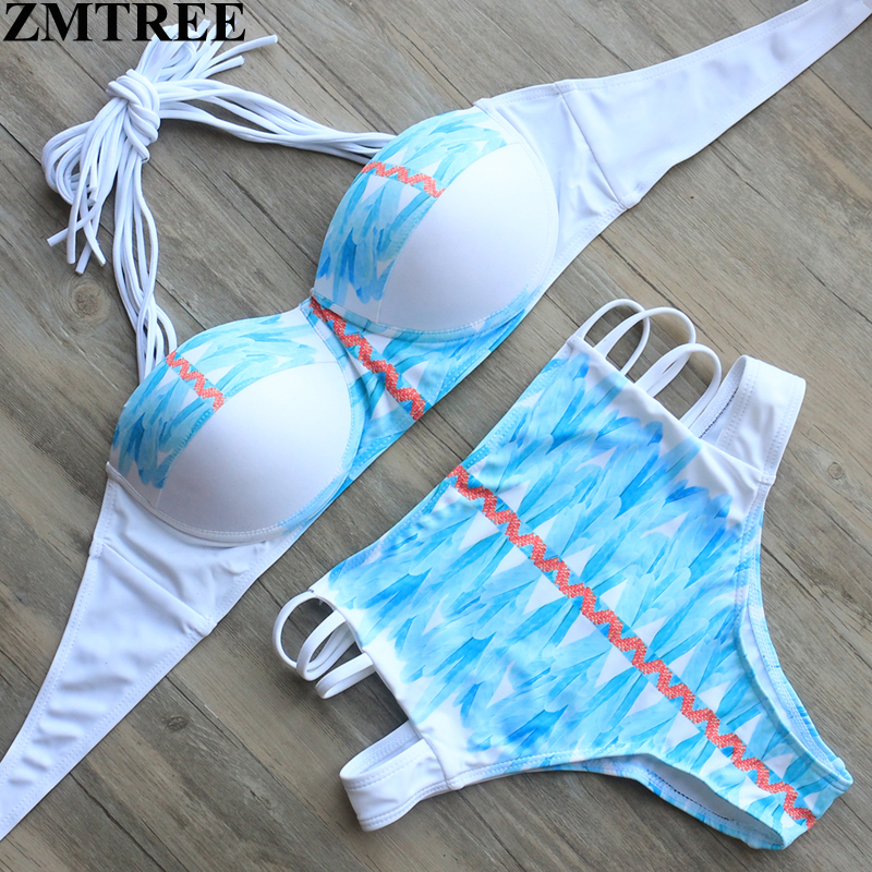 ZMTREE 2017 New High Waist Halter Swimwear Push Up Bandage Bikinis Set Swimsuit Brazilian Beach Wear Maillot De Bain Biquini
