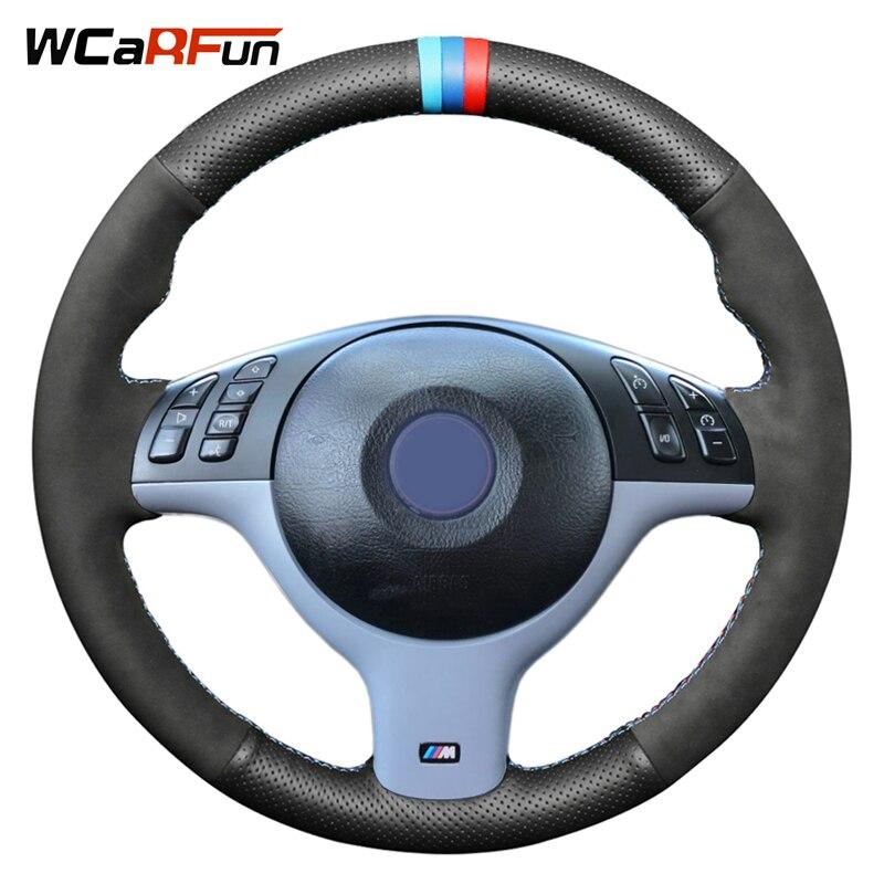 WCaRFun housse de volant de voiture en daim noir en cuir naturel noir pour BMW E46 E39 330i 540i 525i 530i 330Ci M3 2001-2003