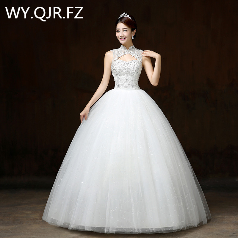 Real photos summer ball gown wedding dresses 2017 new Korean stand collar contracted the bride show thin wedding gown white -H60