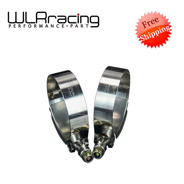 WLR RACING - FREE SHIPPING (2PC/LOT) SS304 CLAMPS 2 INCH (54-62)STAINLESS SILICONE TURBO HOSE COUPLER T BOLT CLAMP KIT WLR5250