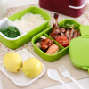 Eco Friendly Japan Style Double Tier Dinnerware Set PP Cute Meal Box Tableware Microwave Oven Bento
