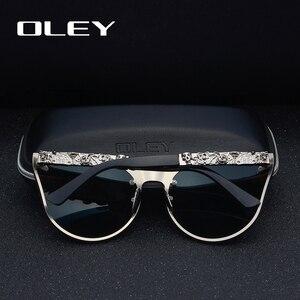 Image 3 - OLEY luksusowa marka moda kobiety gotyckie lustro okulary czaszka rama metalowa świątynia óculos de sol z akcesoriami Y7001
